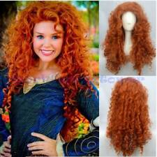 New Women Girls Curly Wavy Orange Hair Cosplay Party Long Wig Costume Wigs+Cap