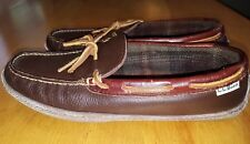 LL Bean Brown Leather Boat Moccasins Toe Slipper Loafers Men's Shoes 9M