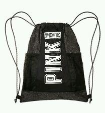 Victoria's Secret Pink GREY MARL Drawstring Backpack Bag Tote Duffle Gym Logo