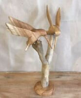 2 Humming Birds On Stand In Wood Carving Hand carved on Stained Parasite Wood
