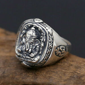 Om Ganesha Elefant Gott Namaste Ring 925 Silber & Messing Herren Schmuck A3575
