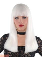 Ladies Glow in the Dark Wig Halloween White Gothic Fancy Dress Costume Accessory