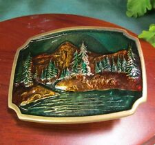 Vintage Belt Buckle Forest Mountains & Lake Solid Brass 1978 BTS Fabulous