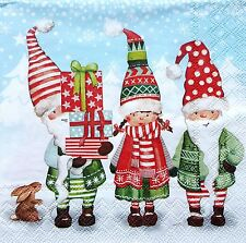 4 Single Lunch Paper Napkins for Decoupage Craft Christmas Elves Napkin  / Art