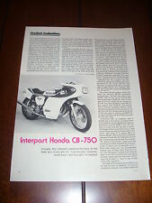 HONDA CB-750 INTERPART CAFE RACER - ORIGINAL 1974 ARTICLE