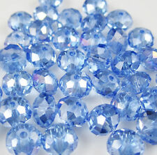 Wholesale DIY Jewelry Faceted 500pcs 4*6mm Blue Rondelle glass Crystal Beads