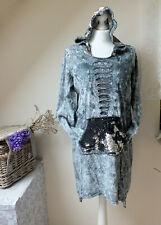 ❤️TREDY bitte Maße beachten❤️SUPER marmoriert Kleid Kapuze Pailletten❤️Hingucker