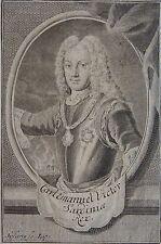 CARL EMANUEL VICTOR SARDINICE, Portrait, gravure 18 ème. Dimensions : 95 mm X 14