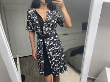 Robe portefeuille noire blanc soie PROENZA SCHOULER us4 S 36 38 wrap dress new