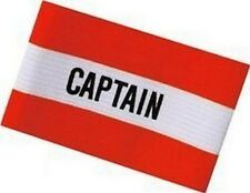 "Brassard de capitaine, rouge et blanc, inscription en anglais ""captain"""
