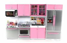 Deluxe Pink Modern Kitchen Battery Operated Girls Toy Kitchen For Dolls Play Set
