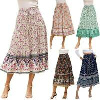 Womens Ladies Boho Floral Ruffle Holiday Beach Swing Summer Beach Midi Skirts