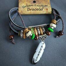 Audrey Wrap Bracelet Leather Personalize Name Boho Wood Beads Green Sparkle