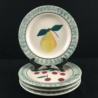 Set of 4 VTG Salad Plates Hartstone Pottery Fruit Salad Green Sponge USA