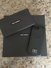 Authentic DOLCE & GABBANA IPHONE 7 Plus Cover Black Dauphine Leather Logo