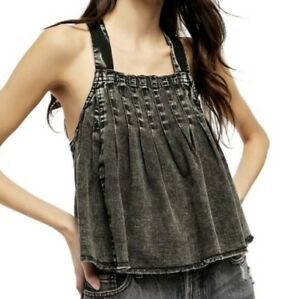Free People Marina Black Denim Tank Top Criss Cross Back Size XSmall $88