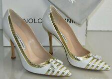 NEW Manolo Blahnik LEFFINO BB Pumps Gold SNAKE White Leather Tassels Shoes 39.5
