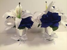 Horizon Royal Blue White Lily Centerpiece Silver Vase Wedding Decoration