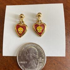 New ListingWarner Bros Tweety Bird Earrings Gold Tone Red And Yellow Pierced Dangle