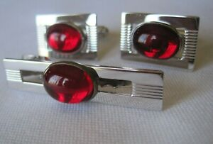 MINT!  Vintage Anson Silver-Tone Red Cab Cufflinks and Tie Clasp