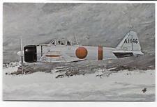 MILITARY POSTCARD~JAPANESE FIGHTER PLANE,1941 MITSUBISHI A6M2 ZERO~DATED 1982