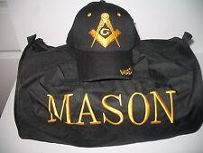 Negro Mason Masón Masónica Utilitario Bolso Deporte de viaje Sombrero Set regalo