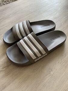 Adidas Striped Adilette Shower Sandals Sliders Grey White Uk11