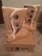 "Womens 12"" Beige Tan Fur Jennifer SHEEP 3 Button  Boots Size 6"