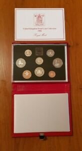 ROYAL MINT PROOF SET. Red Deluxe Leather Box 1986 Birthday Gift Coin Year Set.
