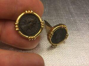 Vintage Roman Or Greek Republic Coin Cuff Links in 14KT & 18k Gold
