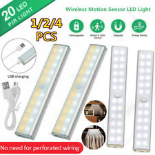 14 20 24 LED Motion Sensor Closet Lights Magnetic Wardrobe Lamp USB Rechargeable