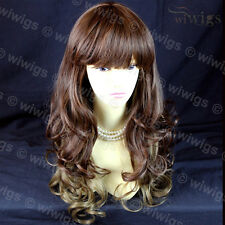 Wiwigs Long Layered Brown & Blonde Mix Curly Ladies Wig