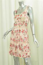 ALANNAH HILL Pink Green Printed Silk Pleated Ruffle Hem Tank Womens Dress sz. 10