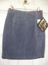 Vintage Forenza Blue / Grey Leather Skirt 8 10 NEW Old Stock Tags See Tag Pics