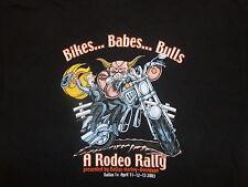 Harley Davidson Motorcycle 2003 biker babes bull Rodeo Rally Dallas t Shirt XL