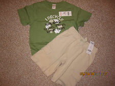 "NWT Gymboree Green ""Recycle"" S/S T-Shirt 5/Beige Knit Shorts 5"