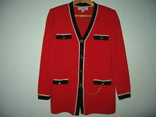 St. John Collection By Marie Gray  Red with Black/White ChainTrim Jacket  s.6