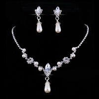 Elegant Bride Wedding Necklace Earrings Women Party Diamond Pendant Jewelry Set