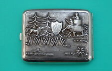 Zigarettenetui Indien  Jagd mit Elefanten  cigarette case Hunting with elephants
