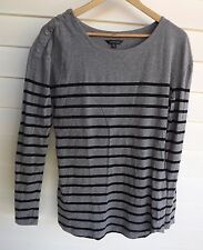 Portmans Women's Grey & Black Stripe Long-Sleeve Top - Size M
