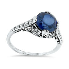 3.5 Ct BLUE LAB SAPPHIRE ANTIQUE DECO STYLE 925 STERLING SILVER RING SZ 6,   #84