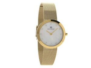 Ladies New Accurist Beautiful Crystal Gold Mesh Bracelet Pearl Watch 8127 Rp £99
