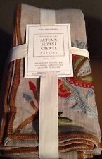 set/4 Linen Autumn Suzani Crewel Napkins from Williams Sonoma New in Package