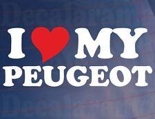 I LOVE/HEART MY PEUGEOT Novelty Car/Van/Window/Bumper Vinyl Sticker/Decal