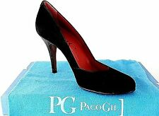 PACO GIL LADIES BLACK LEATHER SUEDE HEELS COURT SHOES WOMANS UK 6. - EUR 39.