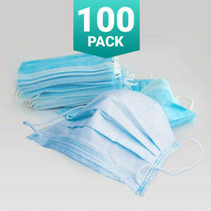 100x Ply Disposable Face Masks Non Surgical 3 Ply Mouth Guard Cover Masks
