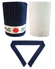 4pcs Hibachi Chef Hat Set, Teppan Chef Hat Set, headband, plastic insert net New