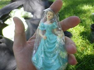 "1 Princess GIRL FIGURE CAKE TOPPER approx. 4"" Teal BLUE Dress Nice LQQK"