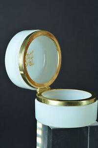 Lovely white opaline glass Trinket Box Casket gilt brass mount Art Deco Monogram