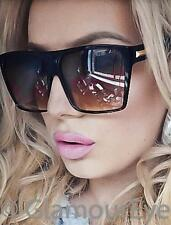 Vintage Oversized Square Flat Top Glossy Black Fashion Blogger Sunglasses 8818 L